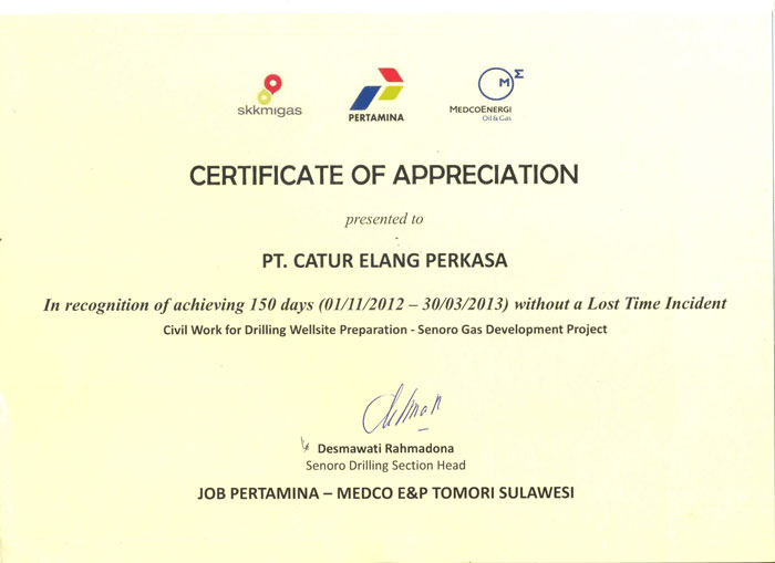 Certificate of Appreciation Pertamina-Medco